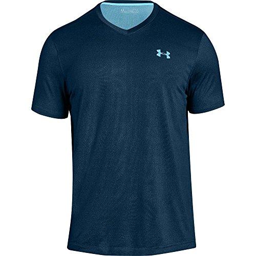 Under Armour Mens Tech V-Neck T-Shirt, Techno Teal (489)/Venetian Blue, Medium
