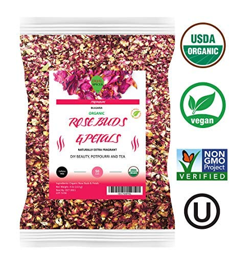 Organic Petals - Dualspices Organic Rose Buds & Petals Tea 4 Oz - Food grade edible Fragrant Natural Healthy Best for Tea, Baking, Making Rose Water, Crafting Freshest Directly from BULGARIA