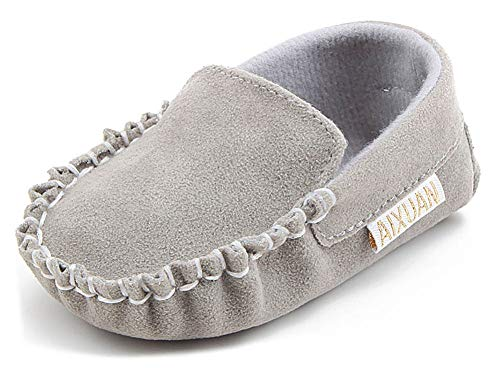 Anrenity Baby Loafer Infant Toddler Boys Girls Soft Slip On Gommino Classic Boat Shoes DDX-001GY Gray 0-6 Months ()