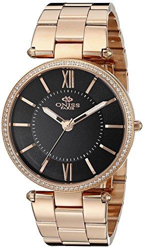 Oniss Swiss Movement - Oniss Paris Women's ON6021N-RGB Stupendo Collection Analog Display Swiss Quartz Black Watch