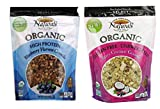 New England Naturals Select Organic Granola 2 Flavor Variety Bundle: (1) High Protein Blueberry Harvest, and (1) GF Unsweetened Berry Coconut, 12 Oz. Ea. (2 Bags)