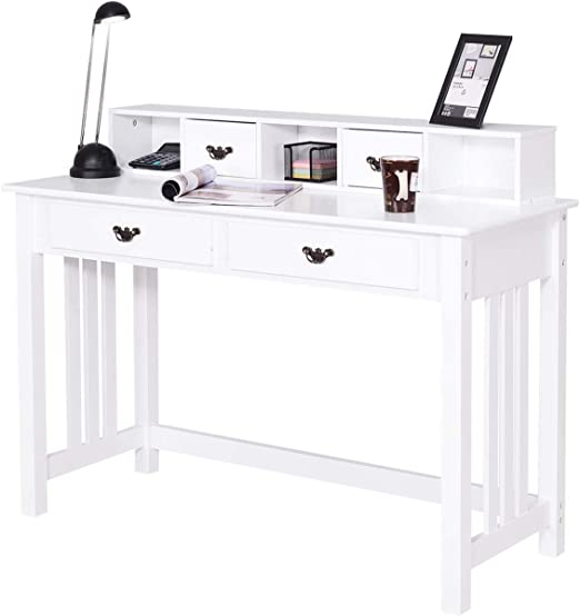Giantex Writing Desk with 4 Drawers, Removable Floating Organizer 2-Tier  Spacious Workstation Writing Study Table, Home Office Computer Desk Console  ...