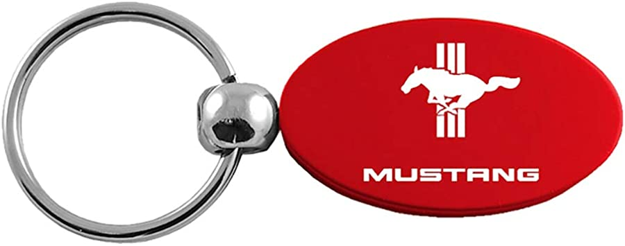 Red Aluminum Metal Oval Ford Mustang 5.0 Logo Key Chain Fob Chrome Ring