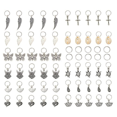 KeyZone 65 Pieces Hair Charms Hair Braid Rings Silver Butterfly Birds Leaves Shell Pendant Charms Rings Set Hair Clip Headband Accessories