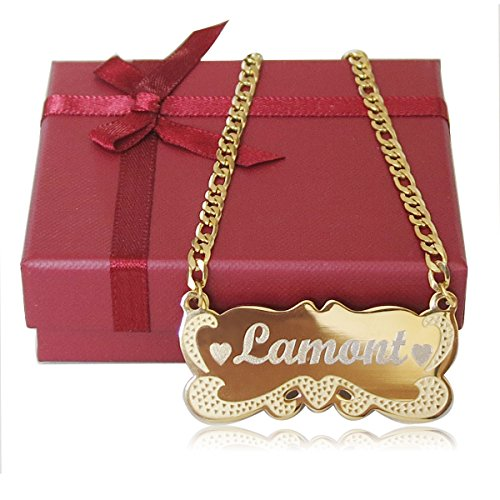 Tina&Co Personalized Gift Royal Bar Necklace Custom Engraved 18K Gold-Plated Stainless Steel Handmade Engraved Name Pendant Necklace Jewelry Gift-01 (Gold-Plated, 18) by Tina&Co (Image #9)