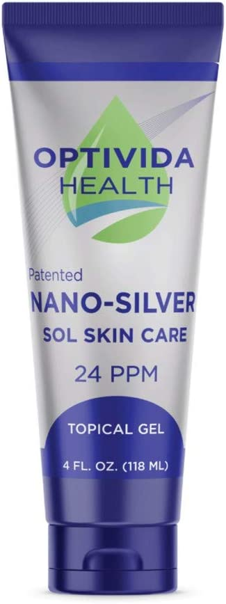 Optivida Nano Silver Topical Gel 24PPM - 4oz Tube - Extra Strength Fast Acting Relief on Skin Irritations and Wounds | Promotes Natural Skin Hydration | Fragrance Free