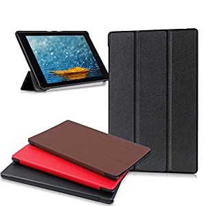 Amazon Fire HD 8 Tablet Case, Buruis Premium Leather Shockproof Fire 8 Case Trifold Stand Cover With Auto Wake Sleep for Kindle Fire HD 8 Tablet, (7th Gen, 2017 / 6th Gen, 2016 / 5th Gen, 2015) Black