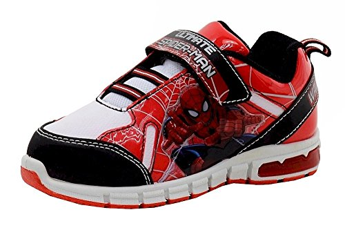 spiderman-boys-wall-crawler-red-black-white-light-up-sneakers-shoes-sz-10t