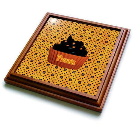 (3dRose Beverly Turner Halloween Design - Cupcake with Chocolate Icing and Orange Stars, Treats on Cupcake - 8x8 Trivet with 6x6 ceramic tile)