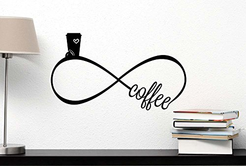 Wall Decal I love Coffee Forever Infinite symbol cute funny vinyl Decal home Decor Quotes Sayings inspirational lettering stickers Stencil wall decor art