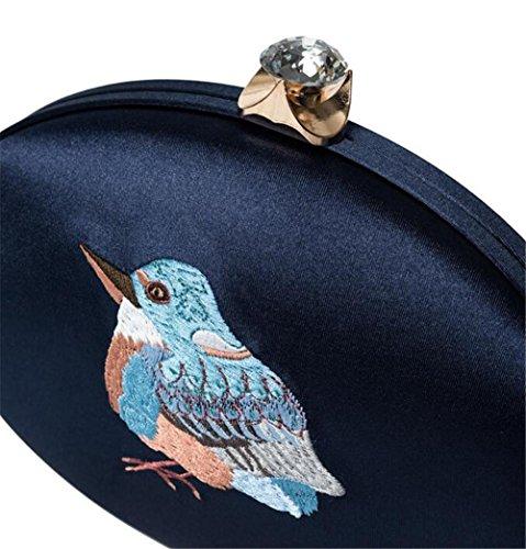 Wedding Retro Kingfisher Party Clutch deep Shoulder Women Evening Bags Silk blue NVBAO Dress fzwF41W
