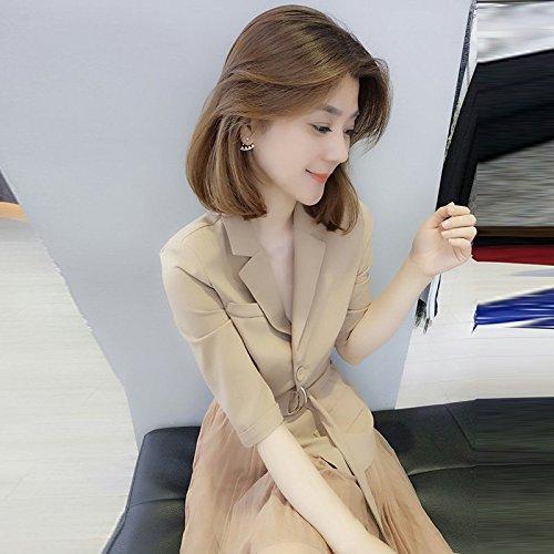MiGMV?Robes Une Robe de Printemps et d't et Une Robe pour Une Taille et Une Longue Jupe,M,Khaki Dress