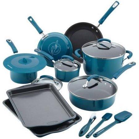 Rachael Ray 16-Piece Hard Porcelain Enamel Nonstick Cookware Set (Marine Blue Gradient)