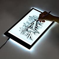 A4 Tracing Board With Scale, ECHI LED Light Box Table Drawing Pad USB Powered Dimmable Brightness (12.2 x 8.27 inches)