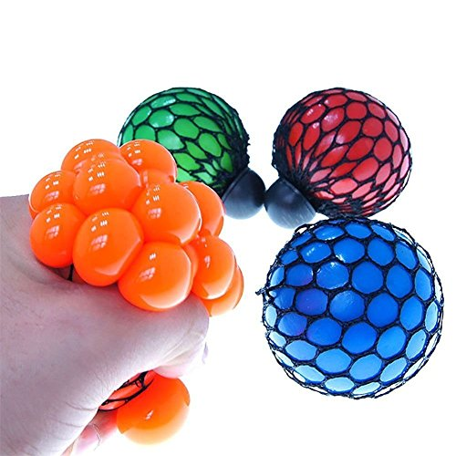 OWIKAR 4pcs Stress Relief Squeeze Toys Grape Ball Novelty Vent Squeezing Toy Relieve Pressure Random Color Red Orange Blue Green Pack of 4 (4 Dollars Toys)