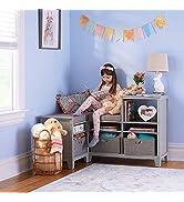 MARTHA STEWART Living and Learning Kids' Corner Nook Gray: Wooden Storage Bookcase Organizer with...