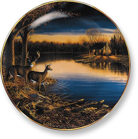 Tranquil Evening - Deer Collector Plate by Sam Timm