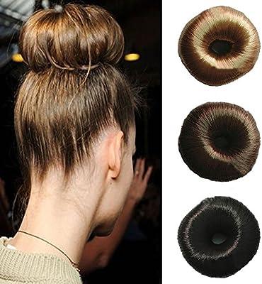 Cinta de pelo atado y peluca, forma de donut de anillo de moño ...
