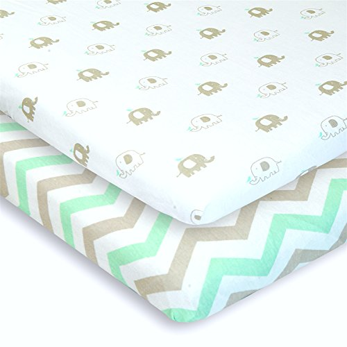 Bassinet Sheets Set 2 Pack for Boy & Girl by Cuddly Cubs | Soft & Breathable 100% Jersey Cotton | Fitted Elastic Design | Mint & Grey Chevron & Elephants | Fits Oval, Halo, Chicco Lullago, Arms Reach -