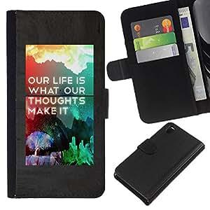 Sony Xperia Z3 D6603 / D6633 / D6643 / D6653 / D6616 , la tarjeta de Crédito Slots PU Funda de cuero Monedero caso cubierta de piel ( Life Make It Poster Rainbow Inspiring)