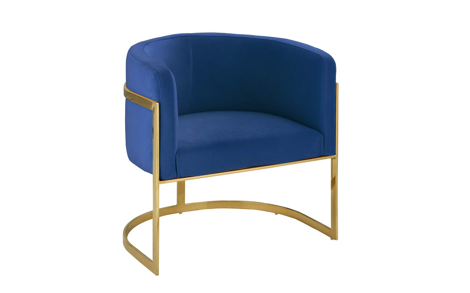 Modern Round Brush Microfiber Living Room Armchair with Gold Legs, Accent Chair (Navy) - Elegant and modern round armchair with round golden base. Upholstered in soft brush microfiber with high density foam filling on seat and back rest. Steel covered in a gold finish and bent around seat to create a round structure to hold seat in place. - living-room-furniture, living-room, accent-chairs - 51NN5t58EXL -