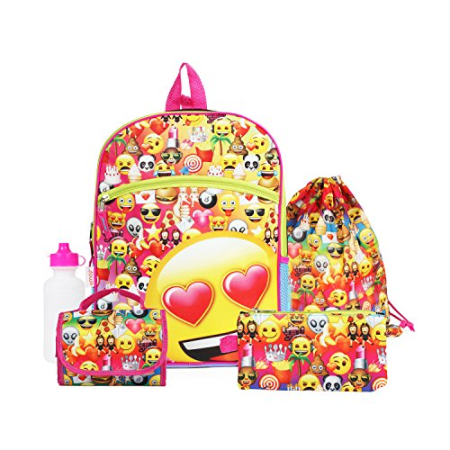 Emoji Yellow16 inch Backpack Back to School Essentials Set for Girls by FAB Starpoint