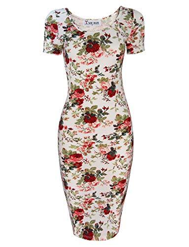 TAM WARE Women's Sweetheart Short Sleeve Midi Dress TWCWD053-WHITE-US L (Tattoo Print Dress)