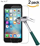Image of TANTEK iPhone 7 Screen Protector Bubble Free, HD-Clear, Anti-Scratch/Glare/Fingerprint, Tempered Glass Screen Protector for iPhone 7/6/6S - 2 Piece