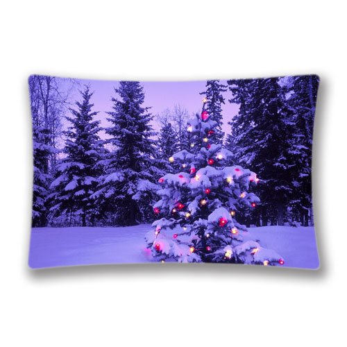 Christmas Tree Pillow Case Cover Queen King Size 2017 Pillow Protector 20x30inch(Twin Sides)with Hidden -