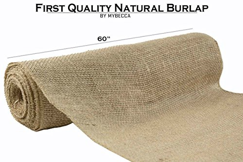 MYBECCA Burlap Natural 60-Inch Wide 100% First Quality for Wedding Decorations and Craft Projects, 20 YARDS (Canvas Tote Bag Sew)