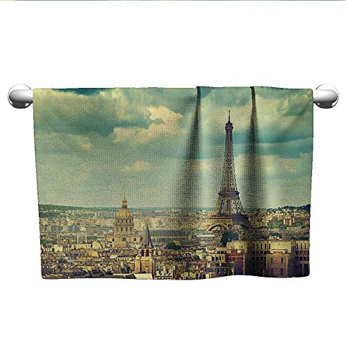 alisoso Eiffel Tower,Wash Towels Europe Famous Building Cityscape Paris France Aerial View Urban Picture Hotel Pool Towels Mint Green Brown W 14
