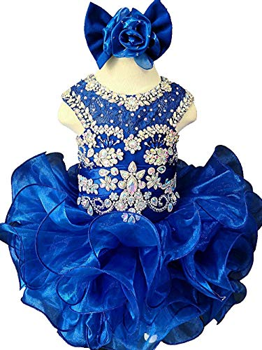 - M_RAC Baby Girl's Crystal Jewel Pageant Cupcake Dress Birthday Party Mini Gowns 3 US Blue
