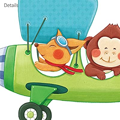 DECOWALL DAT-1806P1506B Animal Transports and Biplanes Kids Wall Stickers Wall Decals Peel and Stick Removable Wall Stickers for Kids Nursery Bedroom Living Room: Home & Kitchen