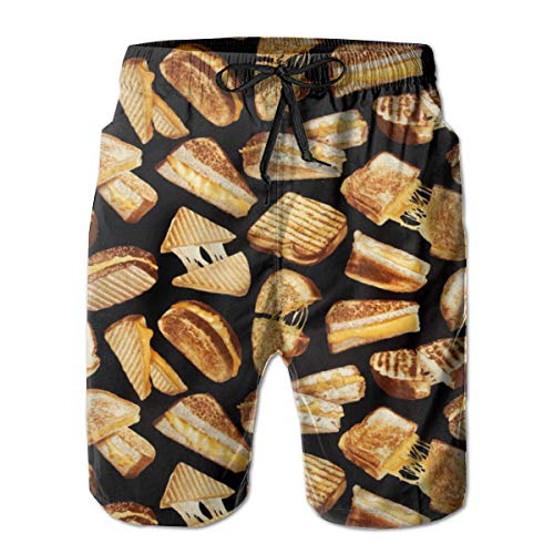 (FANTASY SPACE Mens Grilled Cheese Sandwiches Swim Trunks Swimwear for Beach Athletic Hiking - Extreme Comfort Quick Dry Loose Full Elastic Drawstring Board Shorts Big & Tall Cargo Short)