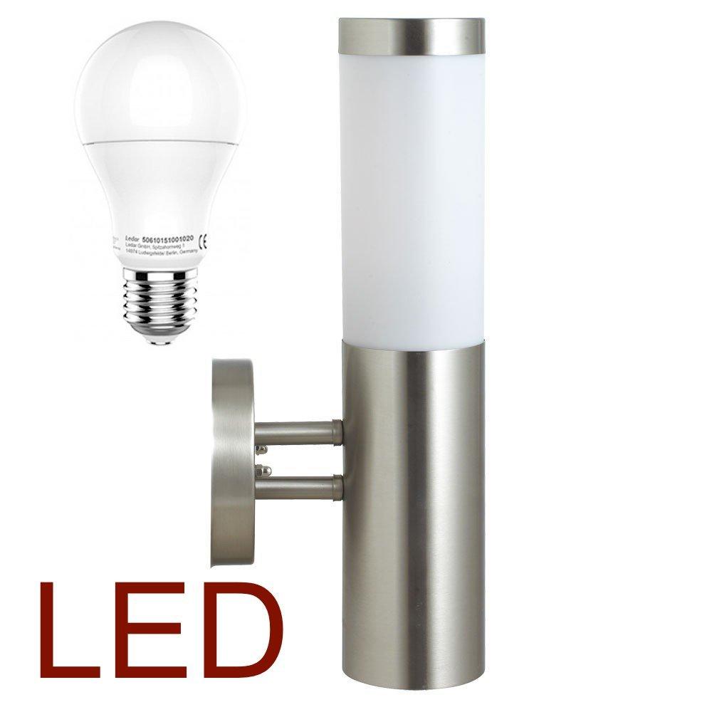 DBLV LED Wand-Außenleuchte mit & LED Leuchtmittel - Edelstahl Außenlampe Hoflampe Gartenlampe Gartenleuchte [Energieklasse A+] 12905