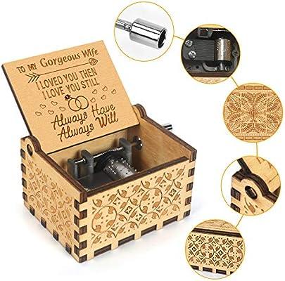Caja de música Kafete con manivela grabada en caja musical U R My ...