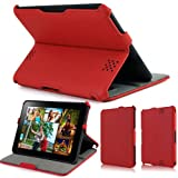 KHOMO ® Red PU Lather Stand Case with Hand Strap for Amazon Kindle Fire HD 7'' (will only fit new Kindle Fire HD 7'')