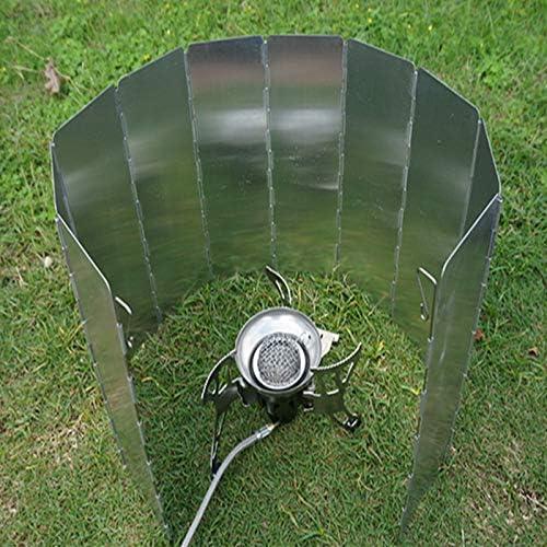 OriGlam Parabrisas plegable para la estufa de camping al aire libre para la cocina de gas, ultraligero al aire libre camping Estufa 9 placas