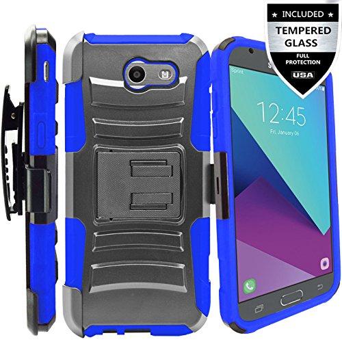 Galaxy J3 Prime Case,Galaxy J3 Eclipse / J3 Mission / J3 Emerge/Amp Prime 2 / Express Prime 2 / Sol 2 / J3 Luna Pro / J3 2017 Case,IDEA LINE Combo Holster Kickstand Belt Clip+Tempered Glass - Blue