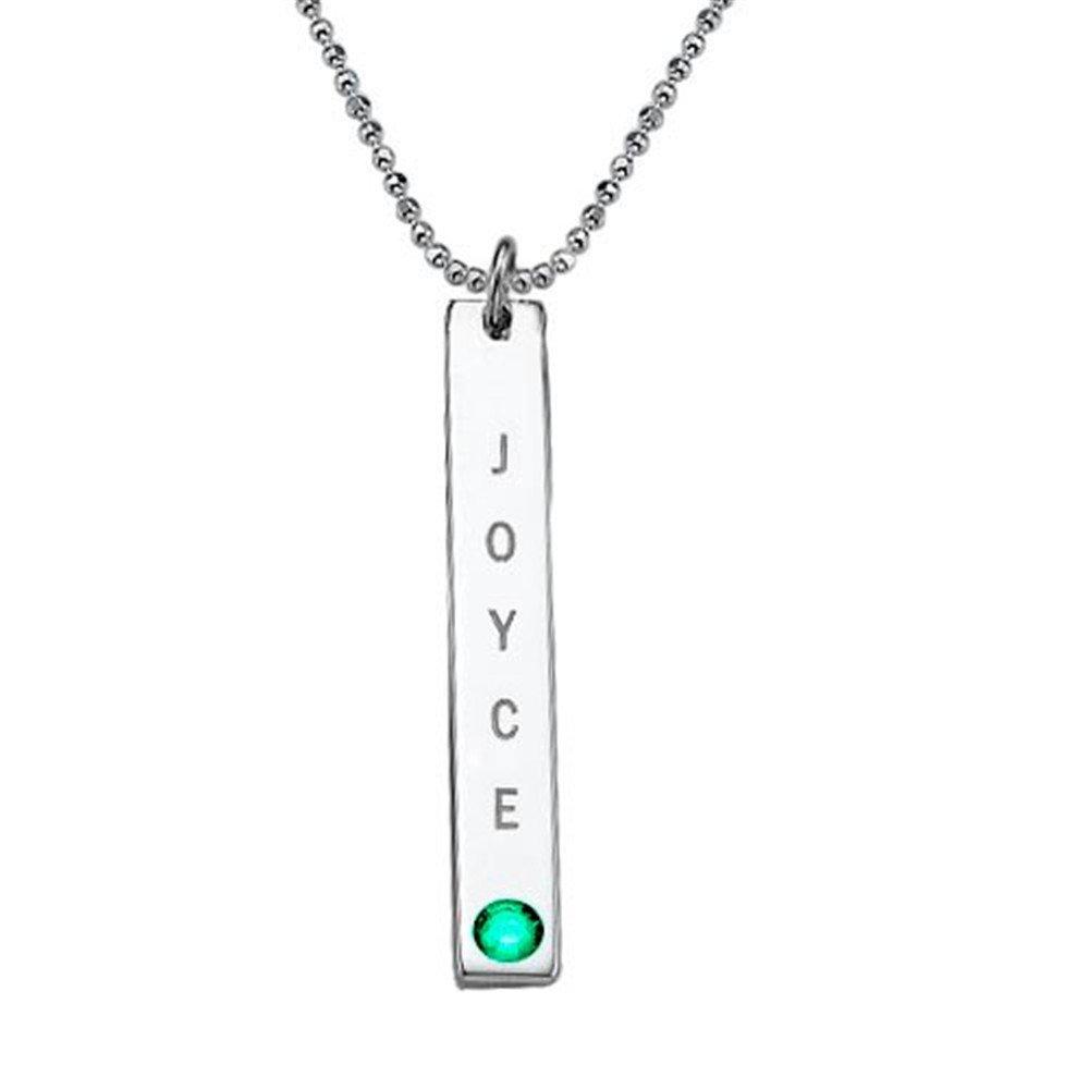 Yandam Birthstone Vertical bar Necklace Custom Name bar Necklace Birthday Gift