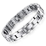 Feraco Mens Sleek Magnetic Therapy Bracelet for Arthritis Pain Relief with Free Link
