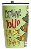 C.R. Gibson Porcelain Double Wall Travel Cup with Lid, Count Your Blessings
