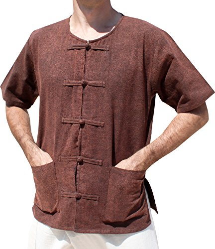 RaanPahMuang Brand Stonewashed Medieval Cotton Frog Button Front Peasants Shirt, Small, Brown (Clothing Peasants Medieval)