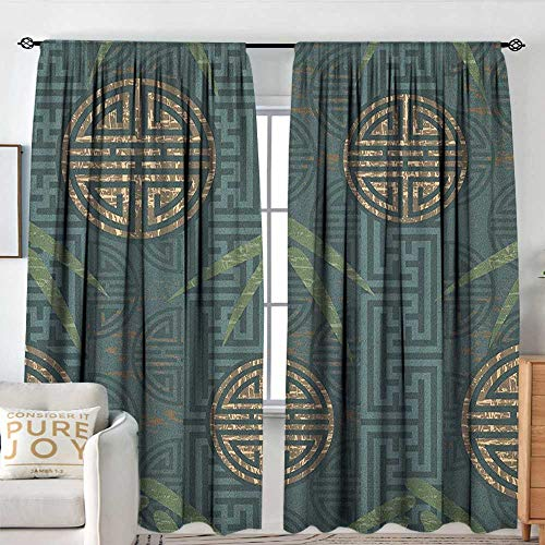 NUOMANAN Decor Waterproof Curtains Bamboo,Authentic Asian Style Composition with Oriental Motifs Leaves Eastern Elements, Teal Ivory Tan,Blackout Draperies for Bedroom Living Room 72