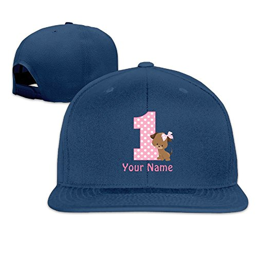 irthday Girl Puppy Personalized Lovely Flat Baseball Cap Navy (Personalized Autographed Baseball)