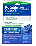 Potable Aqua Chlorine Dioxide Water Purification - Portable Tablets For Camping or Emergency Drinking Water, 30 Tablets