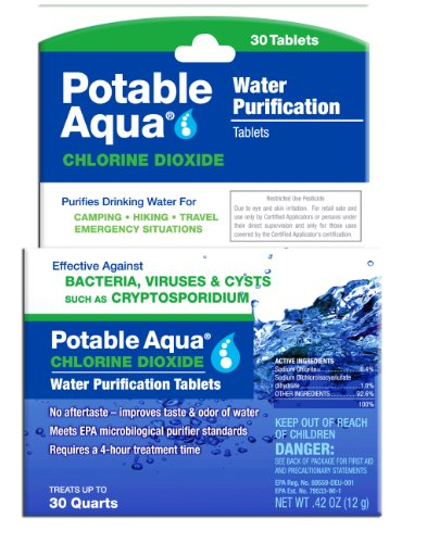 Potable Aqua Chlorine Dioxide Water Purification Tablets - Portable Drinking Water Treatment for Camping, Emergency Preparedness, Hurricanes, Storms, Survival, and Travel (30 Tablets) ()