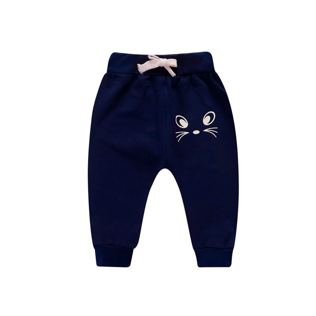 Newborn Baby Girl Boy Cartoon Cat Printed Casual Pants Sports Trousers