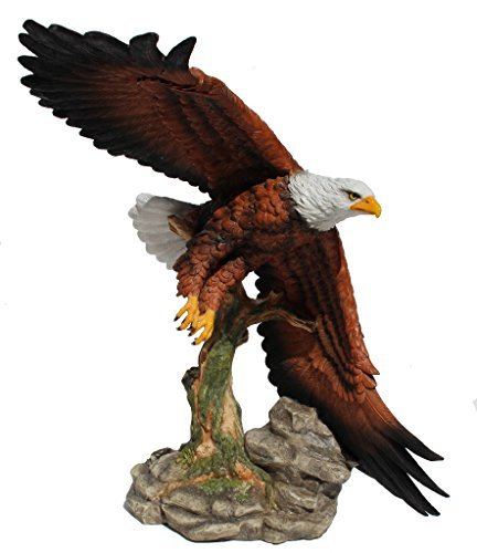 Official Bird of the USA Majestic Flying Bald Eagle 15 3/8 Inch Stone Resin ()