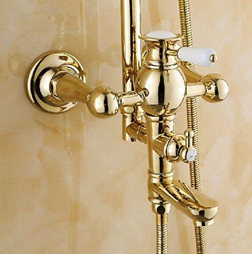 GOWE Fancy Luxury 8'' Rain Showerhead Bathroom Shower Faucet Set Single Handle with Handheld Shower Polished Gold by Gowe (Image #3)